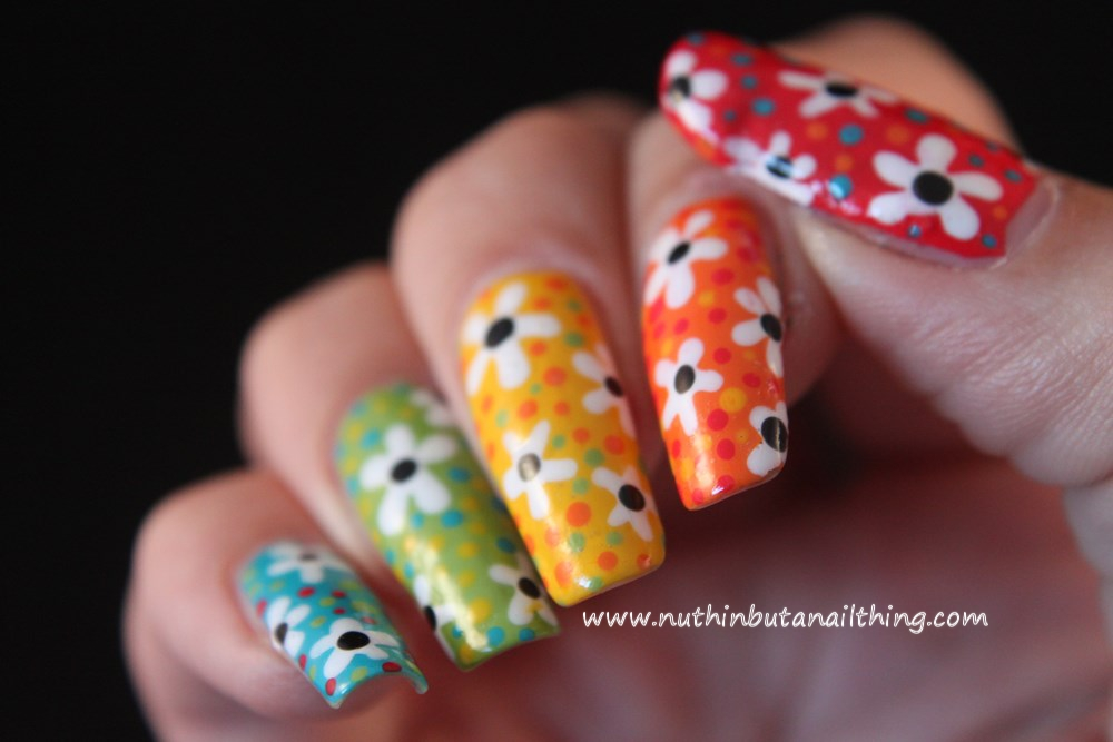 bright flower nail art