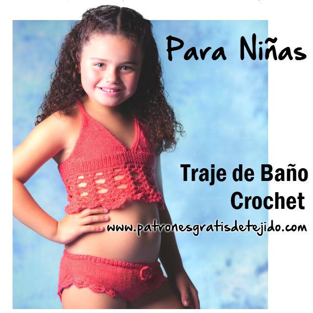 Malla de nena tejida con dos agujas y crochet