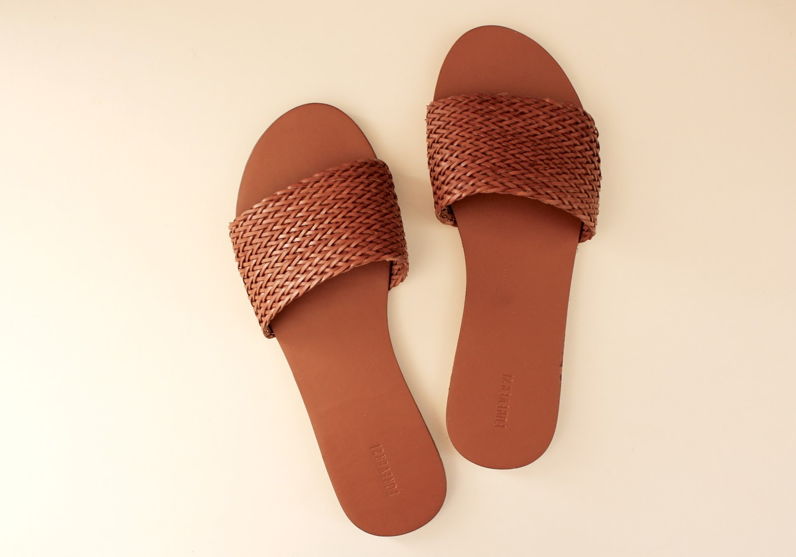 Forever 21 Faux Leather Slip-On Sandals