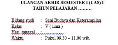 Soal UAS Semester 1 SBK Kelas 5 Dan Kunci Jawabannya
