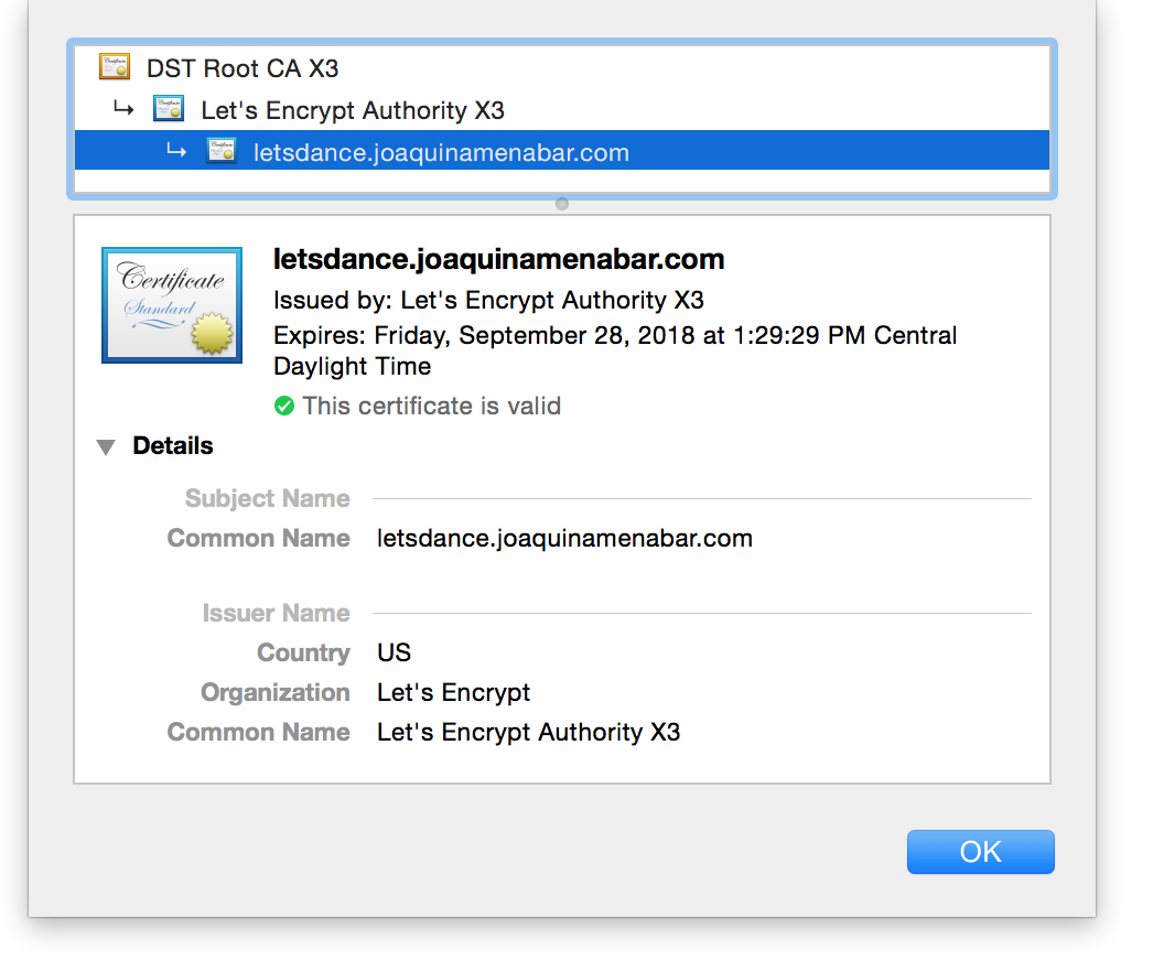 Certificate details from browser padlock