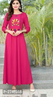 Rayon Long Stylish Anarkali Kurtis