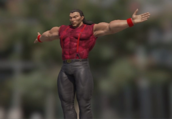 3D character model, arms outstretched