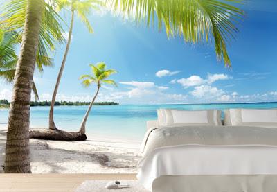 tropisk tapet hav fototapet strand palmer fondtapet sovrumstapet 3d