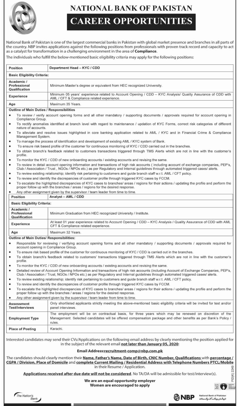 Jobs in National Bank of Pakistan NBP Latest advertisement 2019