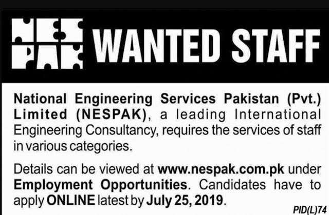 NESPAK National Engeenring services Pakistan Jobs 2019