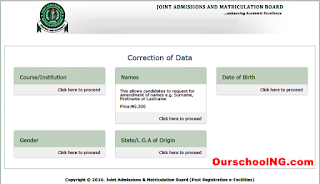 JAMB Correction Of Data Guidelines/Payment Procedure - Do It Your-Self