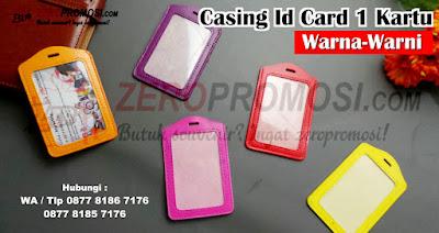 tempat id card kulit warna warni kapasitas 1 kartu, Casing Id Card, Name Tag Colour Card Holder, Tempat Tanda Pengenal Warna Warni