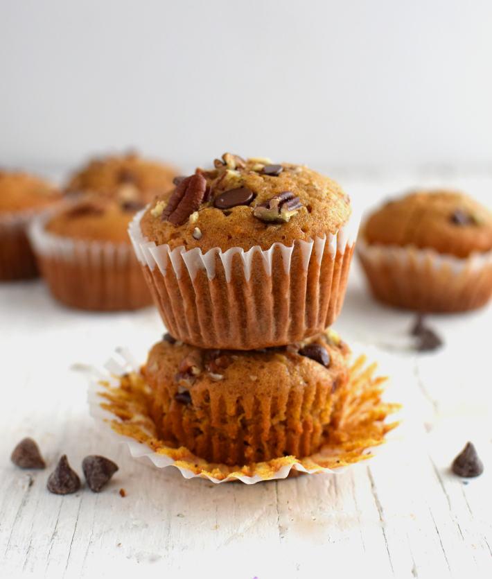 Ponquecitos o muffins de auyama, vista en primer plano