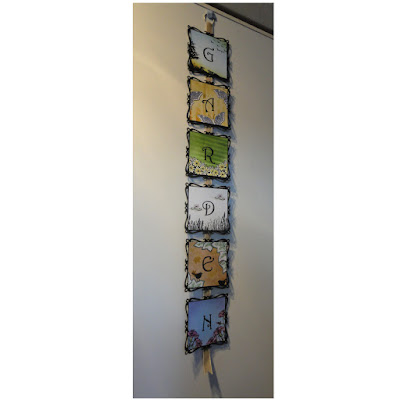 Wall hanging, 6 squares with the letters G, A, R, D, E, N, each decorated with a garden theme