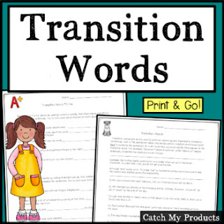 Teach using transition words in writing easily with print or digital worksheets on Teachers Pay Teachers for schools first.