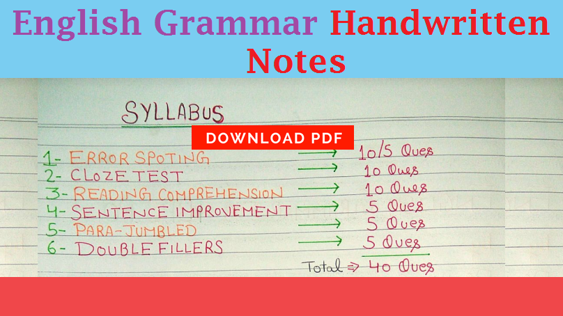 English Grammar For Competitive Exams Pdf