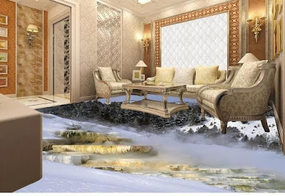 misty looking mountains and scenery with 3d living room floor artwork on tiles for beautiful interior