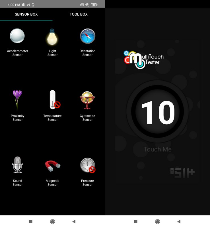 Sensorbox for Android & Multitouch Tester Xiaomi Redmi 9T