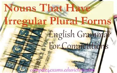 English Grammar: Nouns That Have Irregular Plural Forms (#irregularnouns)(#EnglishGrammar)(#compete4exams)(#eduvictors)