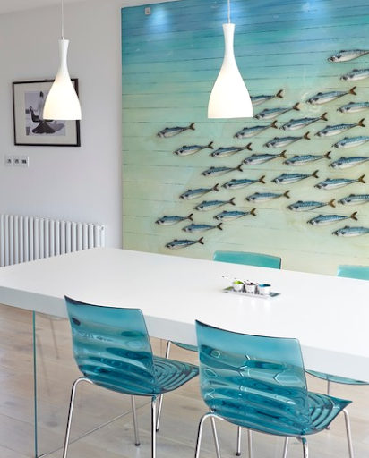 Large Oversized School of Fish Wall Art Under the Sea