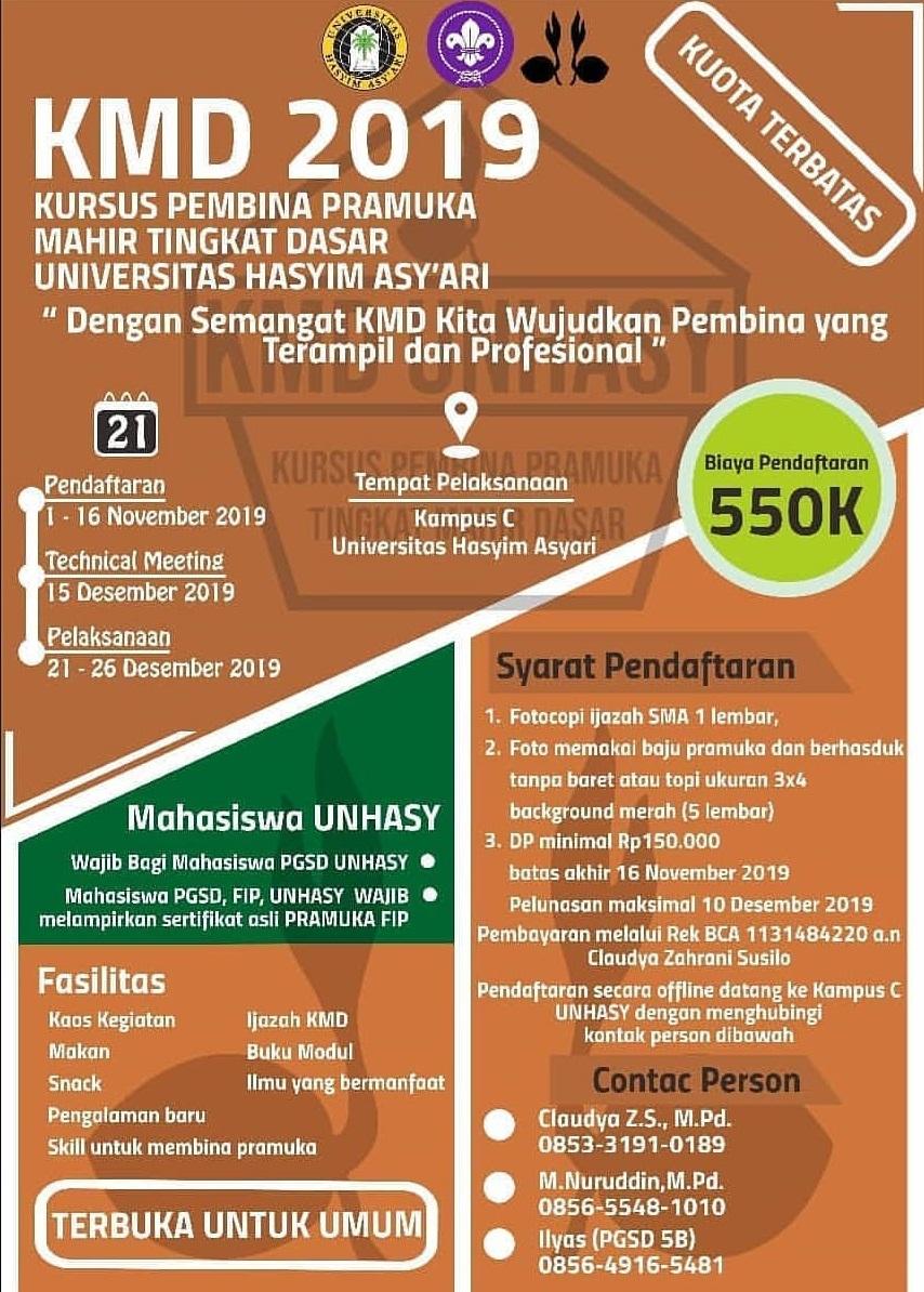 Pendaftaran KMD Universitas Hasyim Asy'ari 2019, Dibuka!