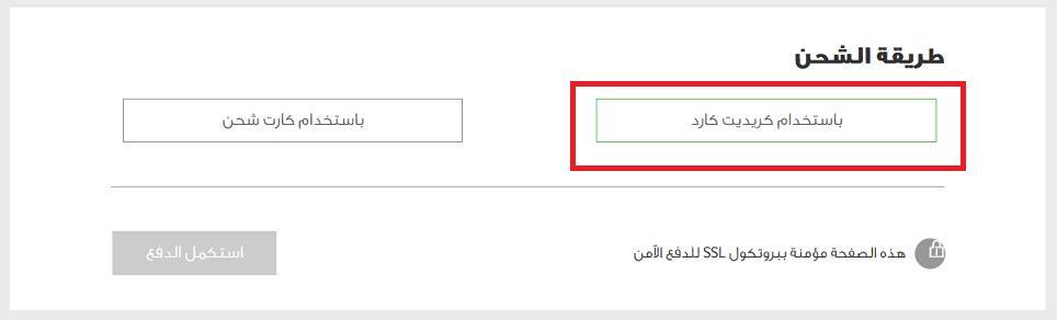 اختيار طريقة الشحن باستخدام بطاقة الفيزا