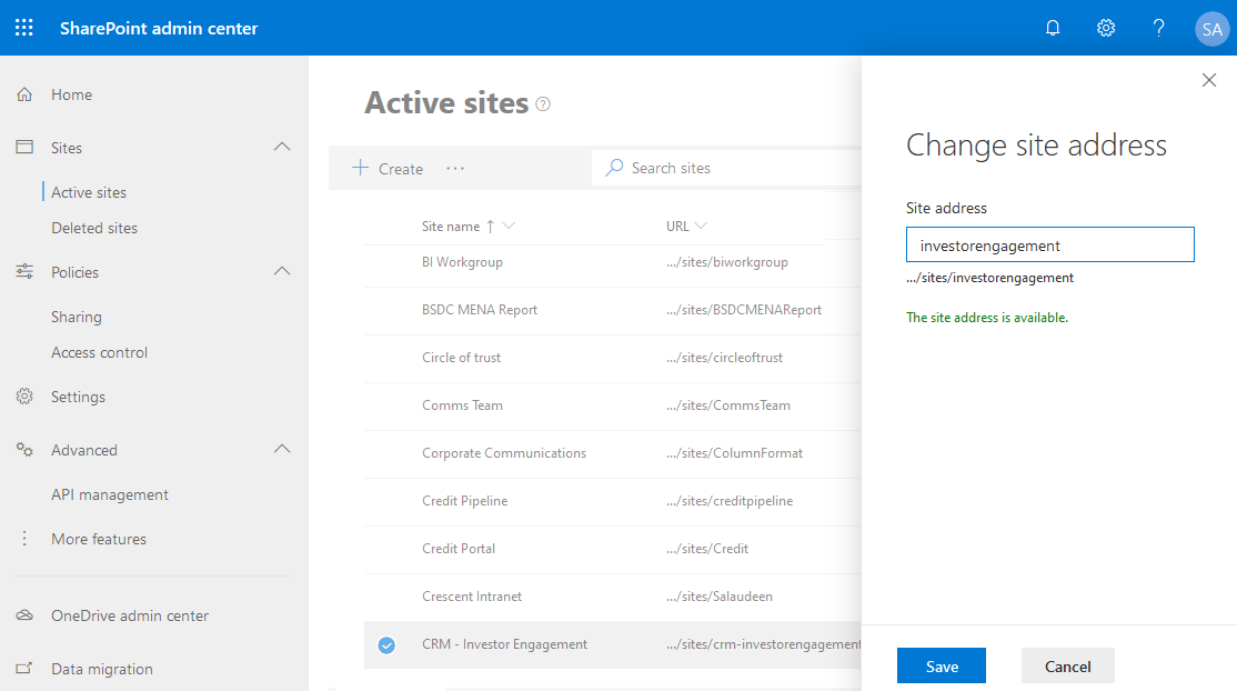 Change site URL in SharePoint Online