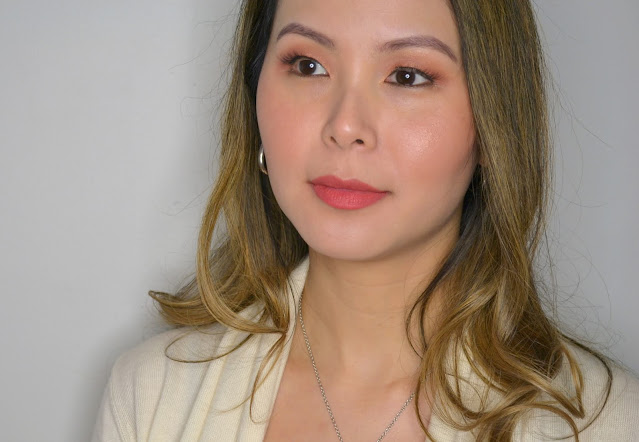 makeup selfie wearing the face shop rouge powder matte lipstick in the shade rose powder