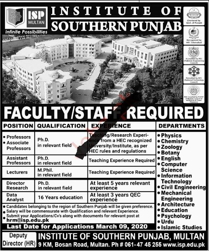 Institute of Southern Punjab ISP Education Posts Multan 2020