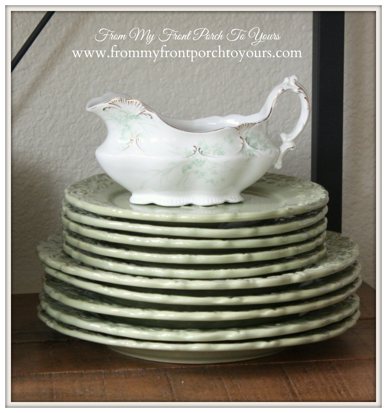 French Farmhouse Spring Breakfast Nook- From My Front Porch To Yours- Vintage Green Transferware