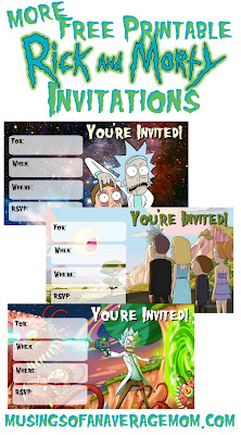 rick and morty invitations
