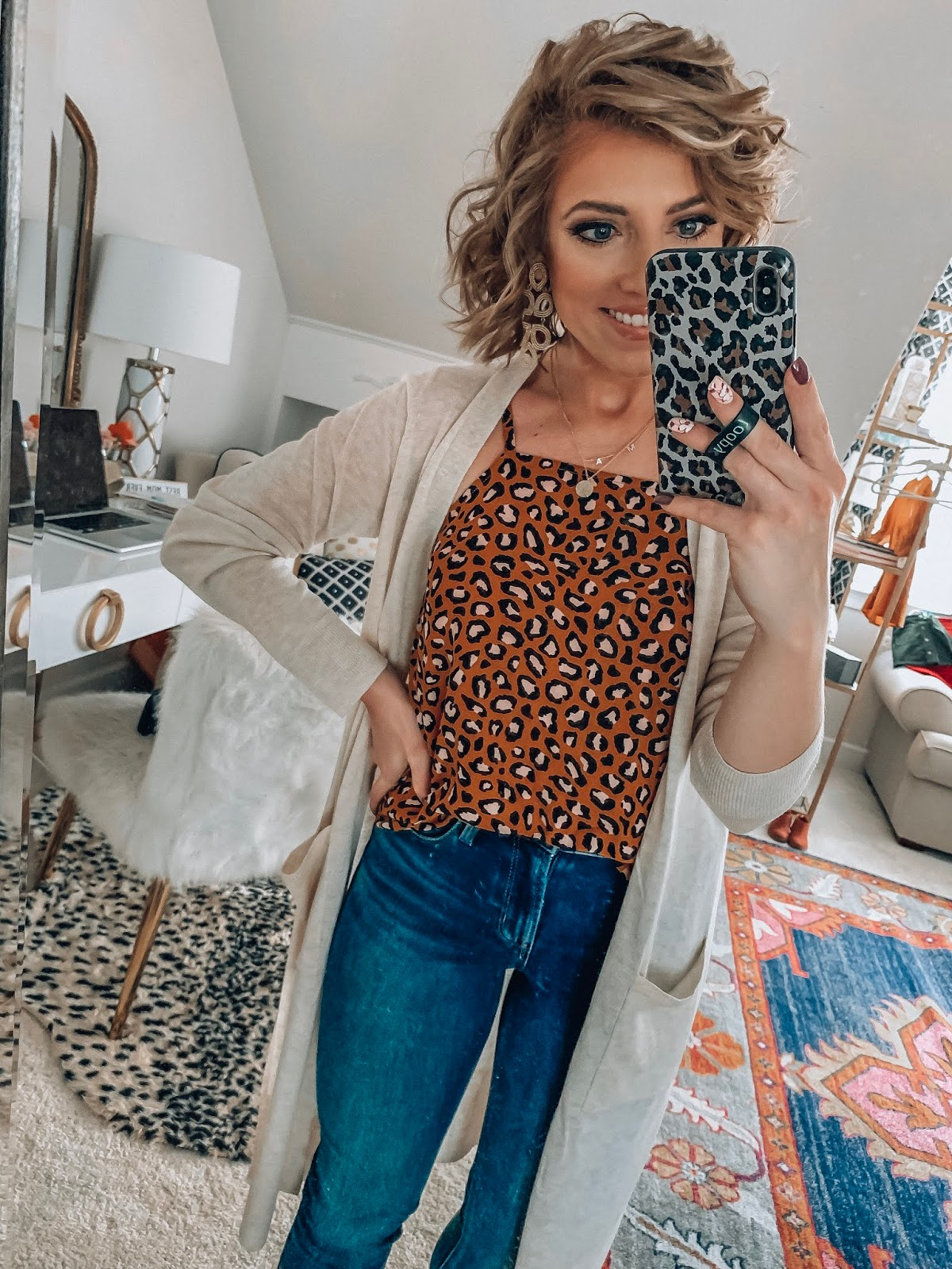Old Navy High Waist 24/7 Rockstar Jeans + Leopard Print Cami and Target Style Cardigan - Somethig Delightful Blog #affordablefashion