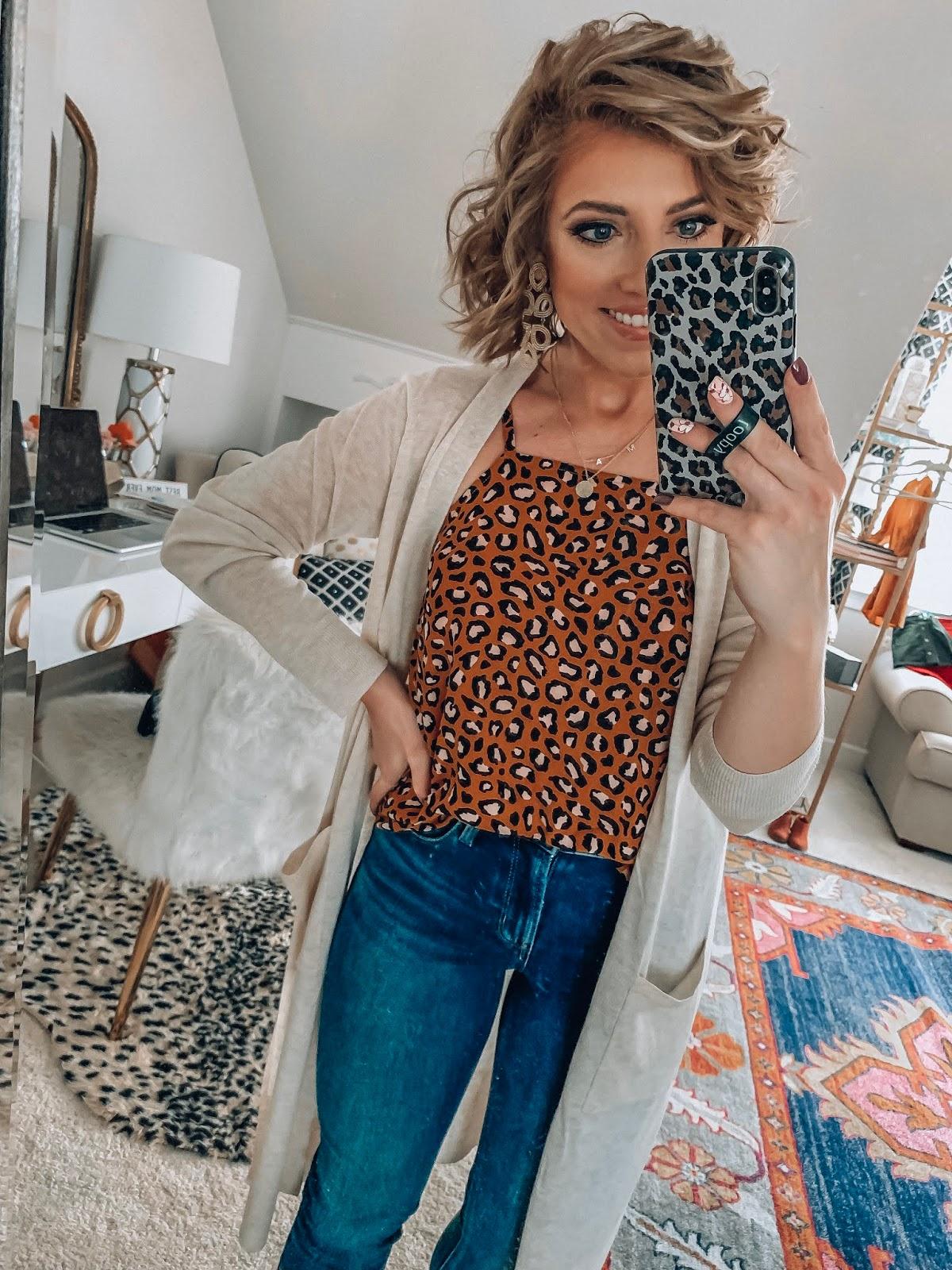 Old Navy High Waist 24/7 Rockstar Jeans + Leopard Print Cami and Target Style Cardigan - Somethig Delightful Blog #affordablefashion