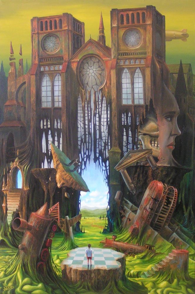 09-Land-of-childhood-dreams-Jaroslaw-Jaśnikowski-Paintings-of-Surreal-Architecture-with-Gothic-Undertones-www-designstack-co
