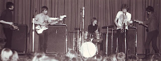 Blues Section playing a concert at the House of Culture in Helsinki in December 1967. This was probably a Christmas Party Concert arranged by the rock journal, Stump, with several top bands performing. Left to right: Jim Pembroke, Pekka Sarmanto, Ronnie Österberg, Eero Koivistoinen and Hasse Walli. Kulttuuritalo, Helsinki, December 1967.  Photo: Tanja Tolonen's album.