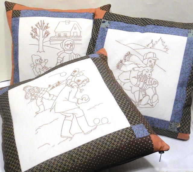 Декоративные подушки винтаж дети: ретро сюжеты, снег, снежки - стиль шале, стиль коттедж. Подарок жене, новогодний подарок бабушке