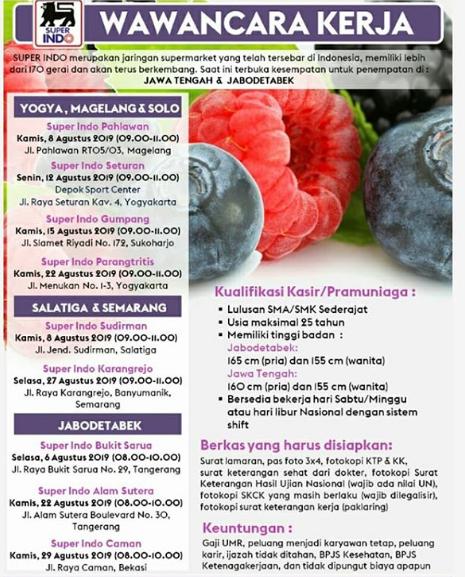 Lowongan Kerja Loker Sma Smk D3 S1 Super Indo Yogyakarta Agustus 2019