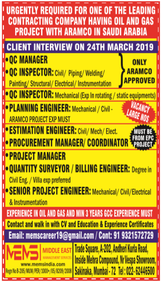 Urgently required for leading contracting company for saudi
