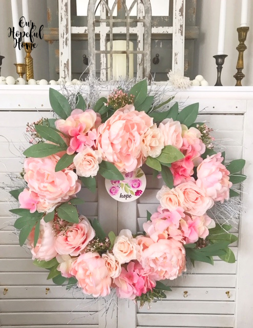 faux pink peony spring wreath shutter