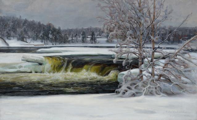 Kuvassa maalattu työ joesta. Etualalla pieni putous.