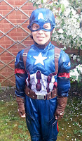 Captain America Costume on a Ten Year Old