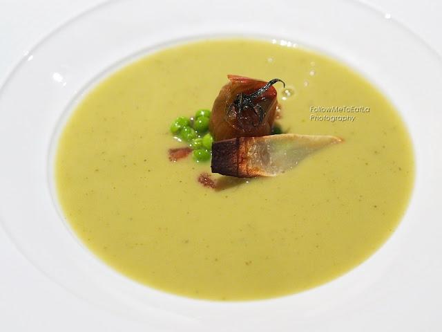 Green Pea Cream, Artichoke Chips & Tomato Tartar