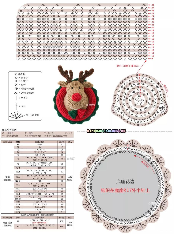 Рождественский олень - детское панно крючком (4)