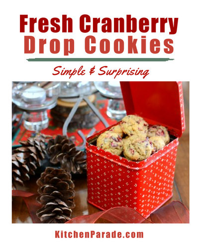 Fresh Cranberry Drop Cookies ♥ KitchenParade.com, an easy cranberry cookie recipe with festive holiday appearance. Fresh cranberries, pecans and orange.