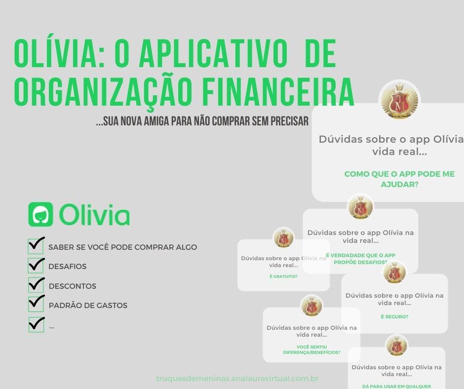 aplicativo de organização financeira dúvidas de como funciona a Olivia