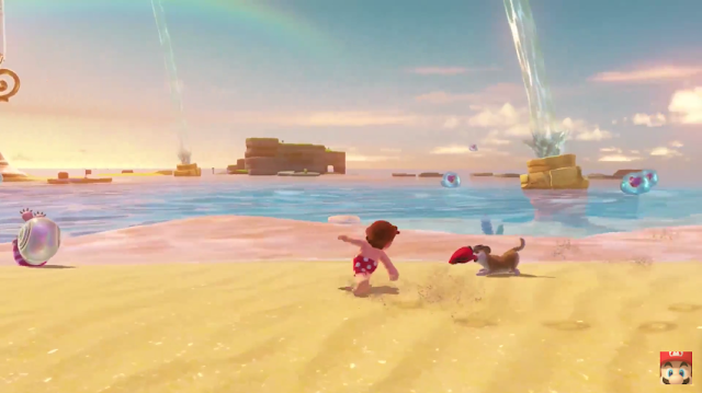 Super Mario Odyssey shirtless running around backside back beach