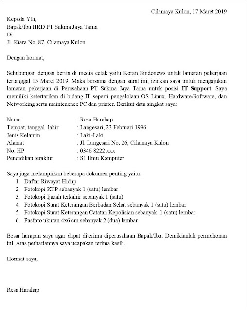 Contoh Application Letter IT Support