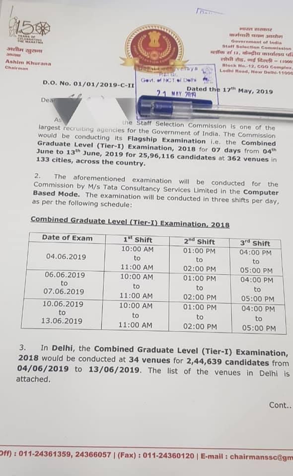 SSC CGL 2018 Exam Tier 1 Schedule