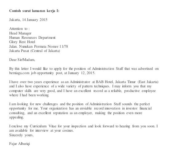 contoh surat lamaran kerja bahasa inggris dan curriculum