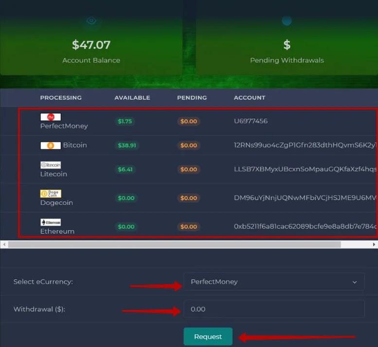 Вывод средств в Hotex Crypto 2