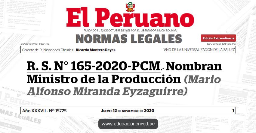 R. S. N° 165-2020-PCM.- Nombran Ministro de la Producción (Mario Alfonso Miranda Eyzaguirre)