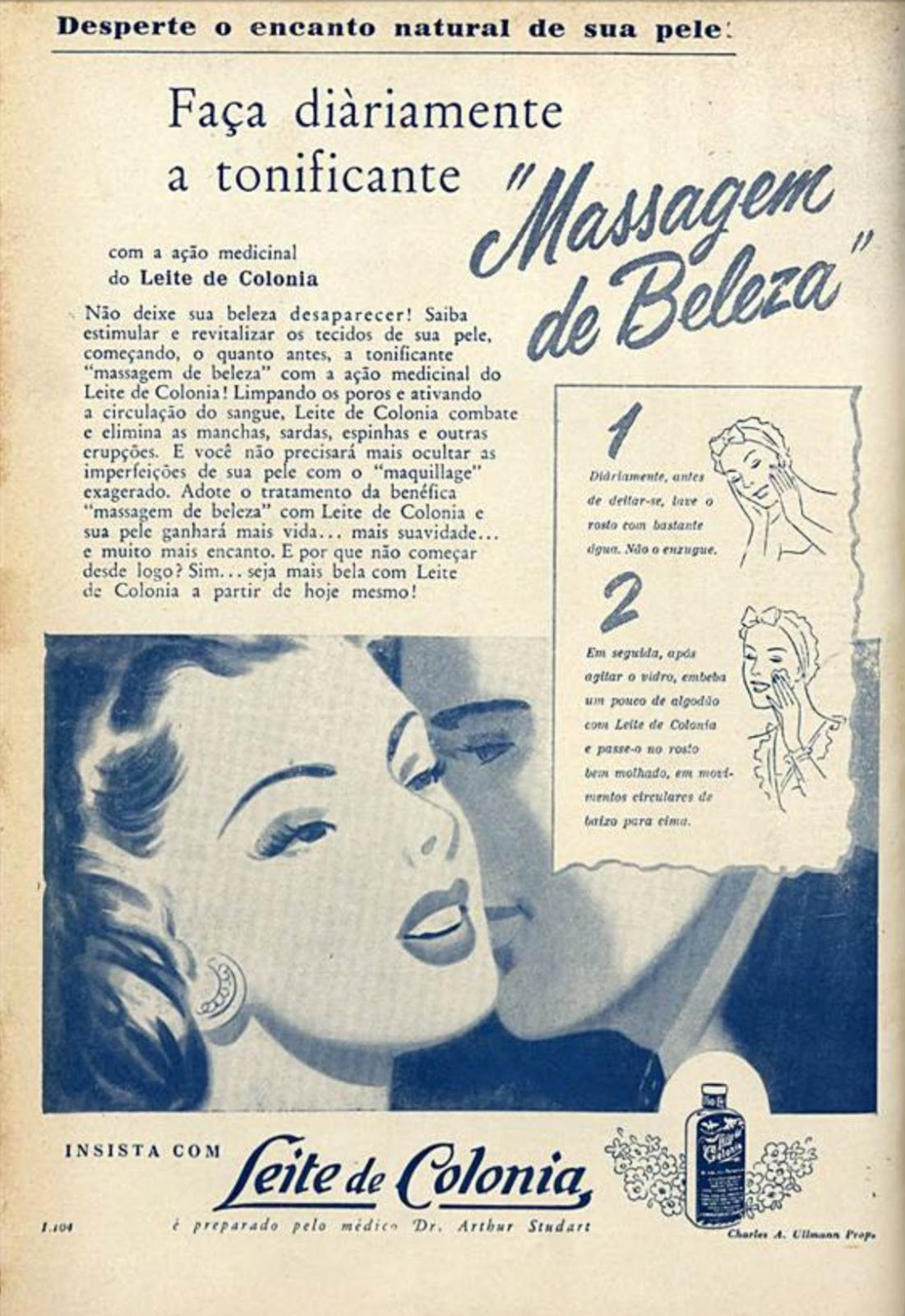 Propaganda antiga do Leite de Colônia com dicas para uso na pele em 1954