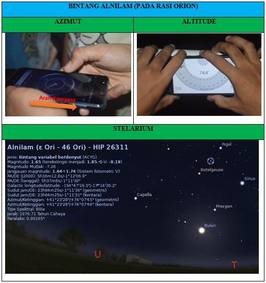 Gambar Hasil Pengamatan Bintang Alnilam menggunakan teropong dan stellarium