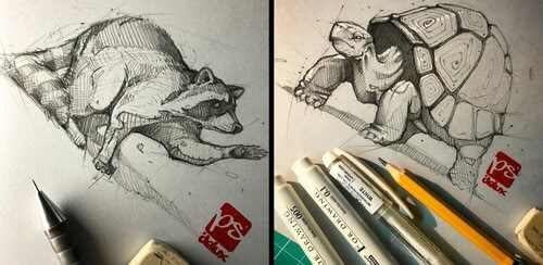 00-Psdelux-Fineliner-Ink-and-Pencil-Animal-Drawings-www-designstack-co
